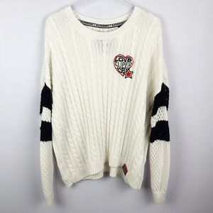 Superdry | Love Patchwork Cream Cable Knit Sweater